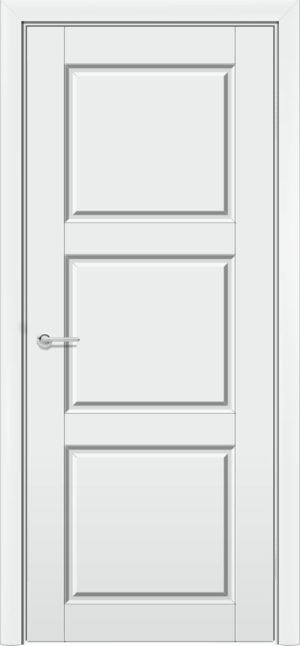 Межкомнатная дверь эмаль Б 25 белая патина серебро 3