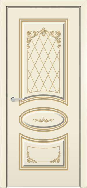 Межкомнатная дверь эмаль Б 17 бежевая патина серебро 3