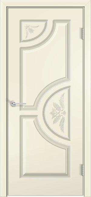Межкомнатная дверь эмаль Б 8 белая патина серебро 3