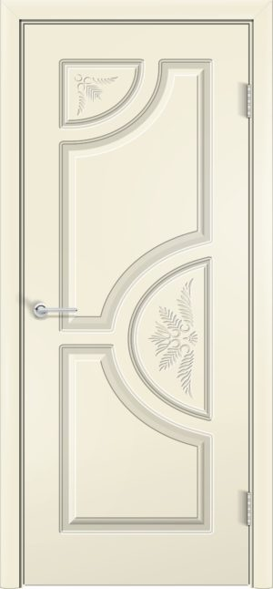 Межкомнатная дверь эмаль Б 8 белоснежная патина серебро 3