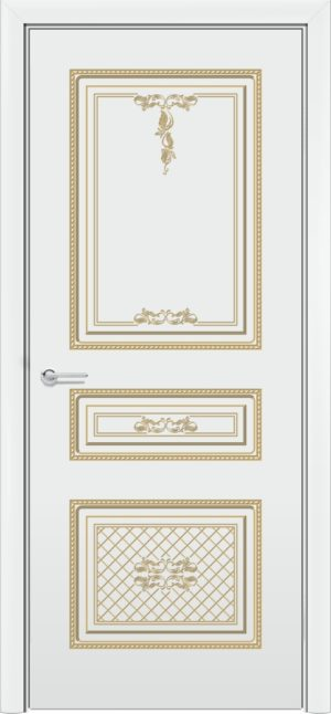 Межкомнатная дверь эмаль Б 13 белая патина золото 3