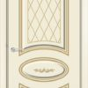 Межкомнатная дверь эмаль Б 10 белоснежная патина серебро 1