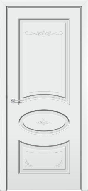 Межкомнатная дверь эмаль Б 15 белая патина серебро 3