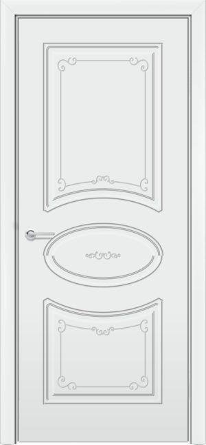 Межкомнатная дверь эмаль Б 12 белая патина серебро 3
