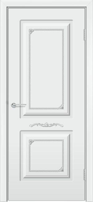 Межкомнатная дверь эмаль Б 3 белая патина серебро 3