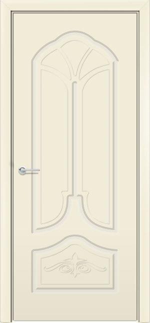 Межкомнатная дверь эмаль Б 21 бежевая патина серебро 3
