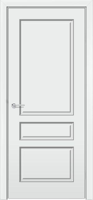Межкомнатная дверь эмаль Б 14 белоснежная патина серебро 3