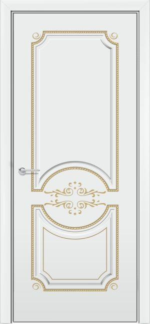 Межкомнатная дверь эмаль Б 5 белоснежная патина золото 3