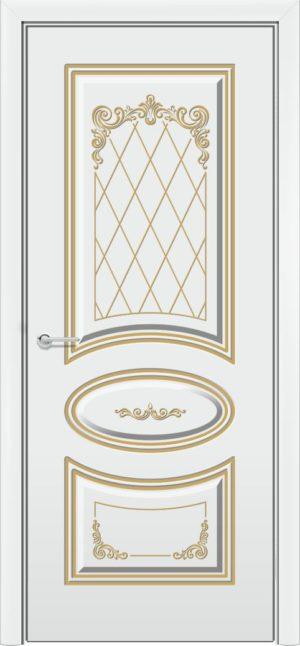 Эмалированная межкомнатная дверь Б 17 белоснежная патина серебро 3