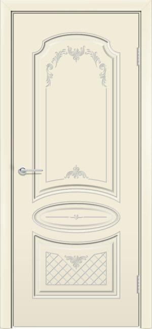 Межкомнатная дверь Б 22 бежевая патина серебро 3