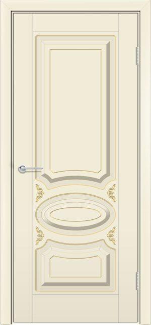 Межкомнатная дверь эмаль Б 1 бежевая патина золото 3