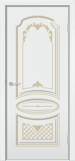 Межкомнатная дверь эмаль Б 22 белоснежная патина золото 3