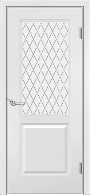 Межкомнатная дверь эмаль Б 9 белоснежная патина серебро 3