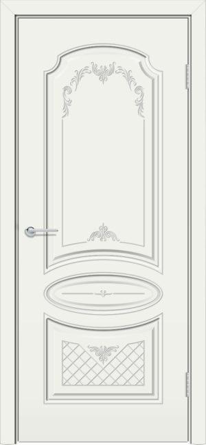 Межкомнатная дверь эмаль Б 22 белая патина серебро 3