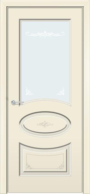 Межкомнатная дверь эмаль Б 15 бежевая патина серебро 3