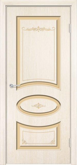 Межкомнатная дверь эмаль Б 15 бежевая патина золото 3