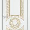 Межкомнатная дверь эмаль Б 14 белоснежная патина золото 2