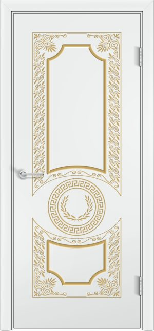Межкомнатная дверь эмаль Б 6 белоснежная патина серебро 3
