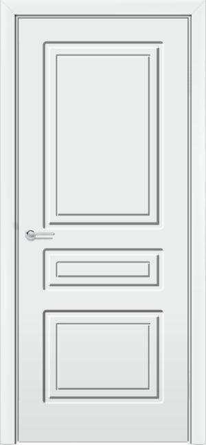 Межкомнатная дверь эмаль Б 11 белоснежная патина серебро 3
