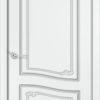 Межкомнатная дверь эмаль Б 4 белоснежная патина серебро 1