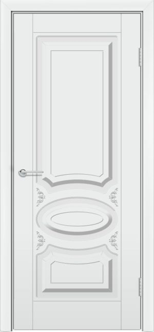 Межкомнатная дверь эмаль Б 1 белоснежная патина серебро 3