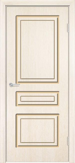 Межкомнатная дверь эмаль Б 11 бежевая патина серебро 3