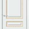 Межкомнатная дверь эмаль Б 9 белоснежная патина золото 2