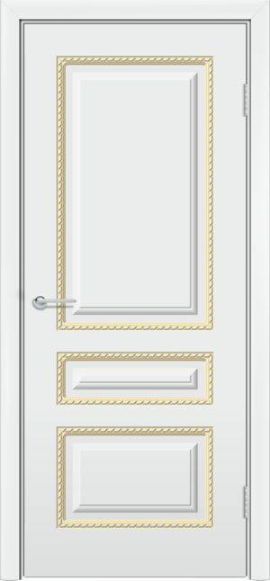 Межкомнатная дверь эмаль Б 2 белая патина золото 3