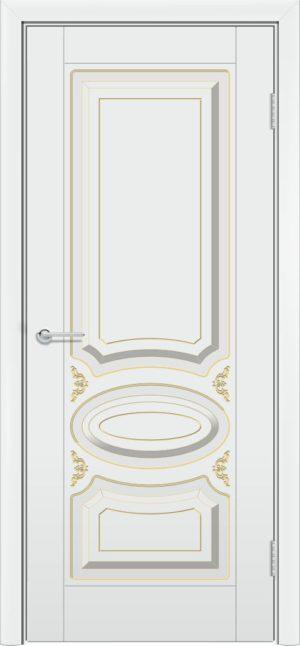 Межкомнатная дверь эмаль Б 1 белоснежная патина золото 3
