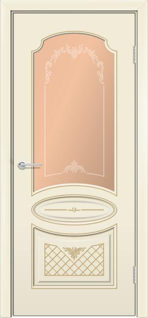 Межкомнатная дверь эмаль Б 22 бежевая патина золото 3