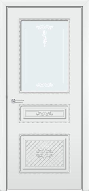 Межкомнатная дверь Б 13 белая патина серебро 3
