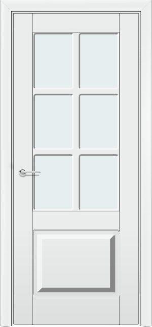 Межкомнатная дверь Б 19 белоснежная патина серебро 3
