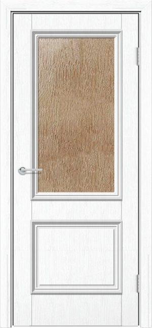 Межкомнатная дверь ПВХ Лира 2 белая патина 3