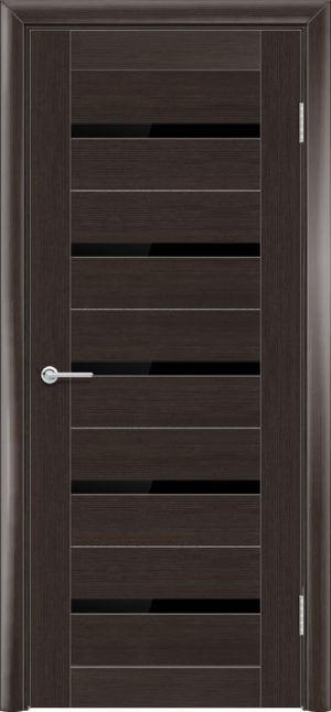 Межкомнатная дверь ПВХ S 1 орех темный рифленый 3