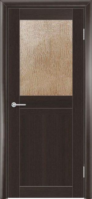 Межкомнатная дверь ПВХ S 10 орех темный рифленый 3