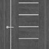 Межкомнатная дверь ПВХ S 26 орех темный рифленый 2