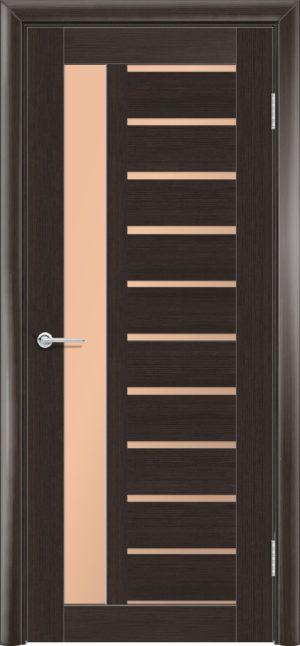 Межкомнатная дверь ПВХ S 13 орех темный рифленый 3