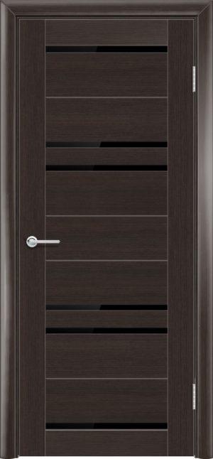 Межкомнатная дверь ПВХ S 16 орех темный рифленый 3