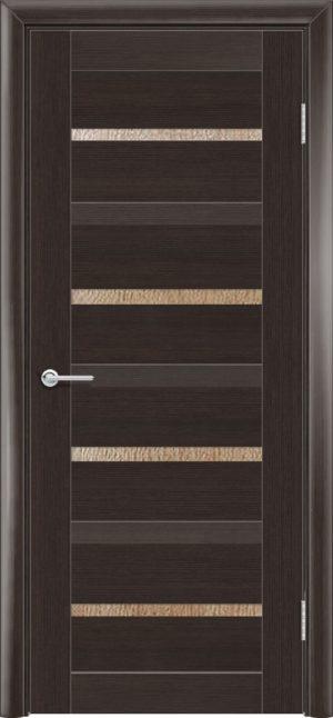 Межкомнатная дверь ПВХ S 17 орех темный рифленый 3