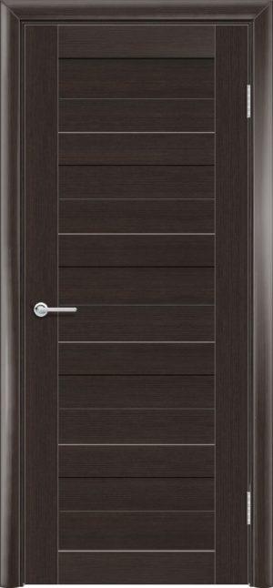 Межкомнатная дверь ПВХ S 19 орех темный рифленый 1