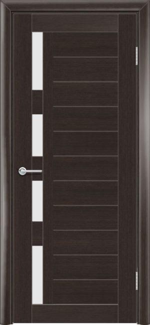 Межкомнатная дверь ПВХ S 25 орех темный рифленый 3