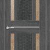 Межкомнатная дверь ПВХ S 36 орех темный рифленый 1