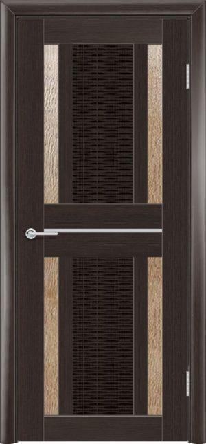 Межкомнатная дверь ПВХ S 26 орех темный рифленый 3
