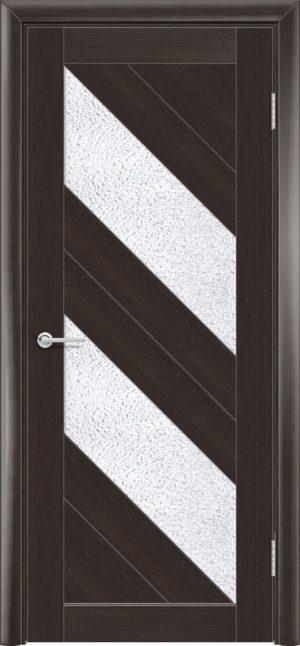 Межкомнатная дверь ПВХ S 27 орех темный рифленый 3