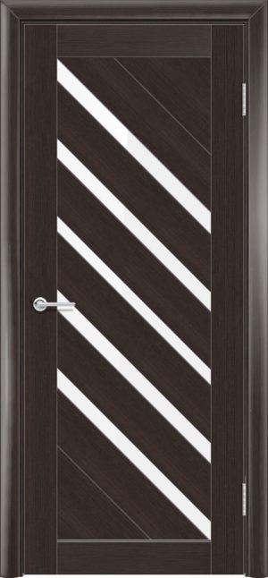 Межкомнатная дверь ПВХ S 28 орех темный рифленый 1