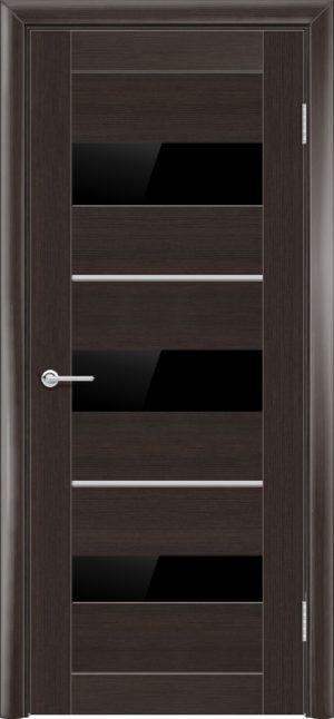 Межкомнатная дверь ПВХ S 29 орех темный рифленый 3