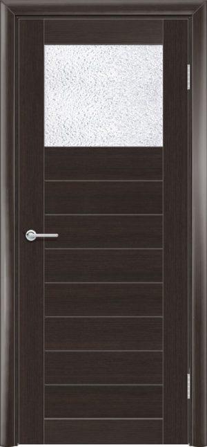 Межкомнатная дверь ПВХ S 35 орех темный рифленый 3