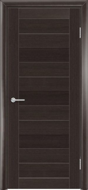 Межкомнатная дверь ПВХ S 36 орех темный рифленый 3