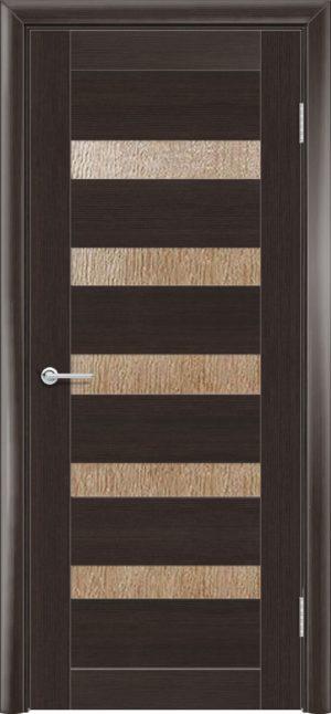 Межкомнатная дверь ПВХ S 40 орех темный рифленый 3