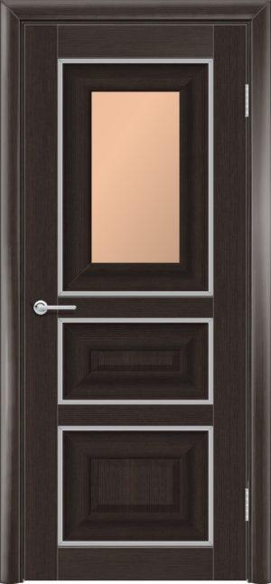 Межкомнатная дверь ПВХ S 46 орех темный рифленый 3